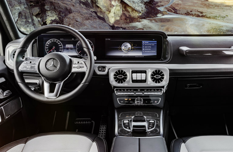 steering wheel and dashboard of redesigned 2019 Mercedes-Benz G-Class