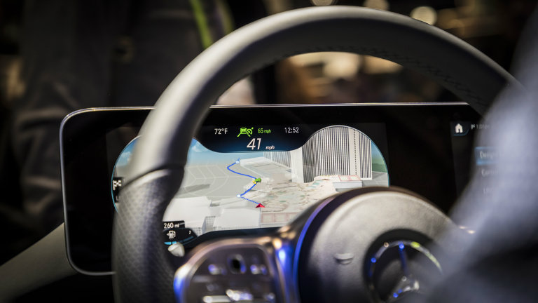side view of navigation running on the Mercedes-Benz User Experience infotainment system