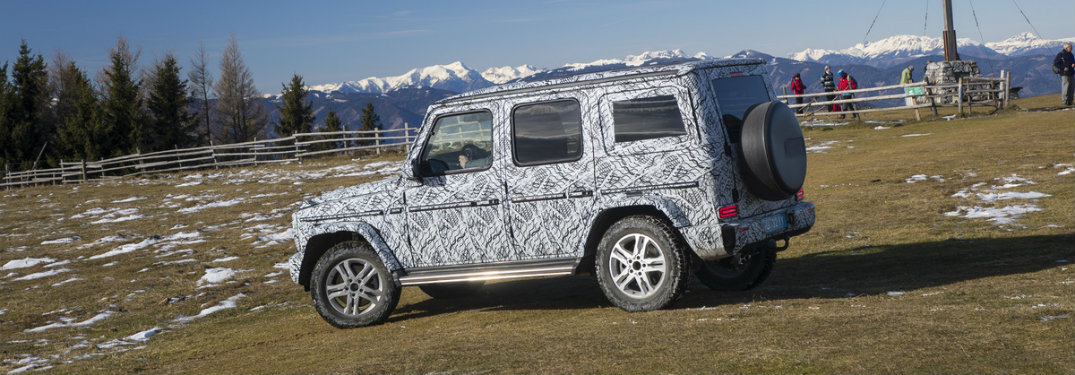 side view of the 2019 Mercedes-Benz G-Class covered in camouflage