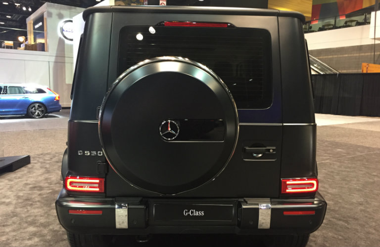 rear view and spare tire of the 2019 Mercedes-Benz G-Class at the Chicago Auto Show 2018