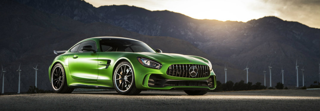 side view of a green Mercedes-AMG GT R performance car