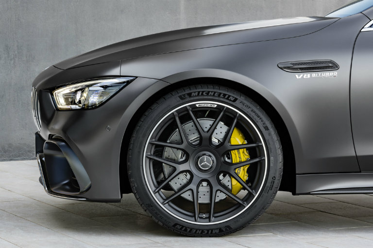 2019 Mercedes-AMG® GT wheel with yellow brakes