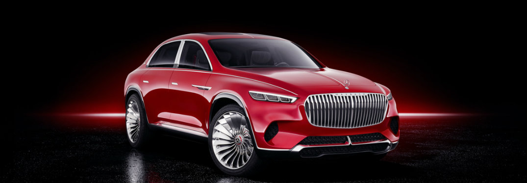 red Mercedes-Maybach Ultimate Luxury concept on a black background