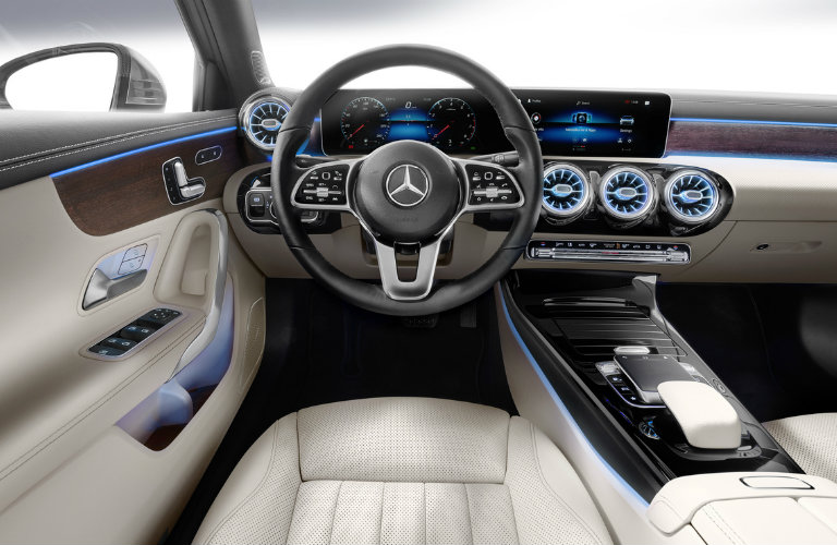 steering wheel and dashboard of the 2019 Mercedes-Benz A-Class Sedan