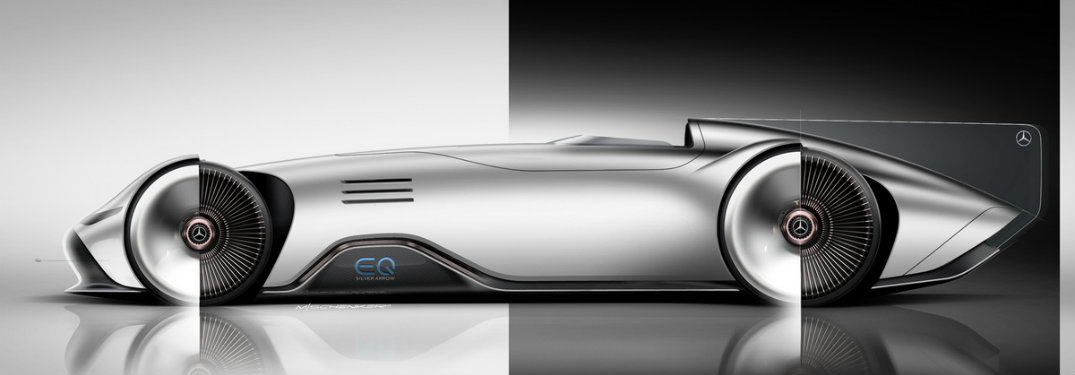 side view of the Mercedes-Benz EQ Silver Arrow Show Car