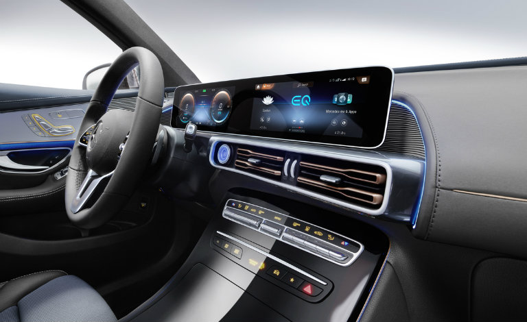 touchscreen infotainment system on the 2020 Mercedes-Benz EQC