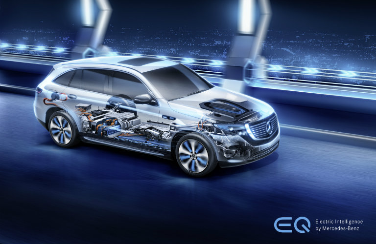 illustration of the 2020 Mercedes-Benz EQC with the powertrain visible through the side