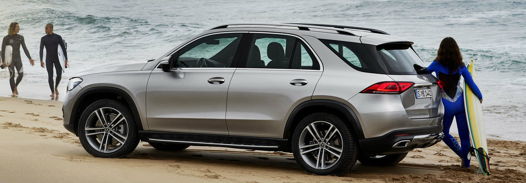 side view of the 2020 Mercedes-Benz GLE in front of the ocean