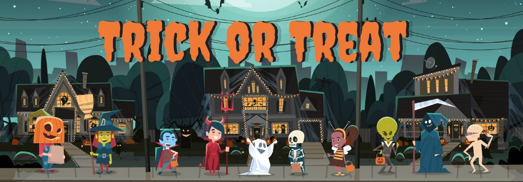 truck-or-treating illustration with dressed-up kids and haunted house in the background