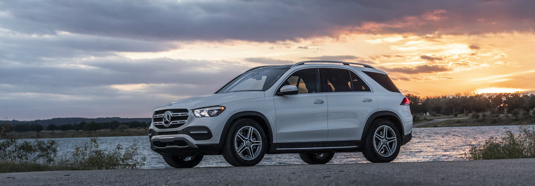 2020 Mercedes-Benz GLE with a sunset in the background