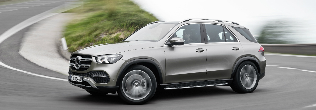 Silver 2020 Mercedes-Benz GLE driving on a curvy road