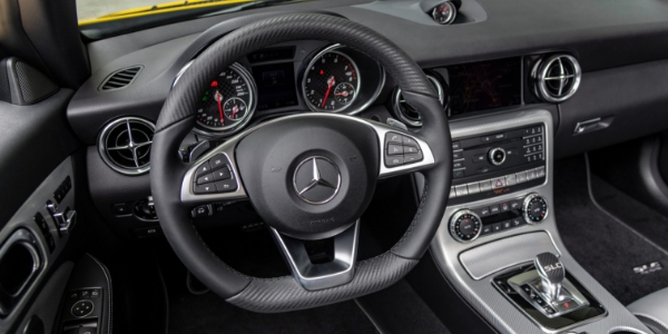 Steering wheel and dashboard in 2020 Mercedes-Benz SLC 300 Final Edition