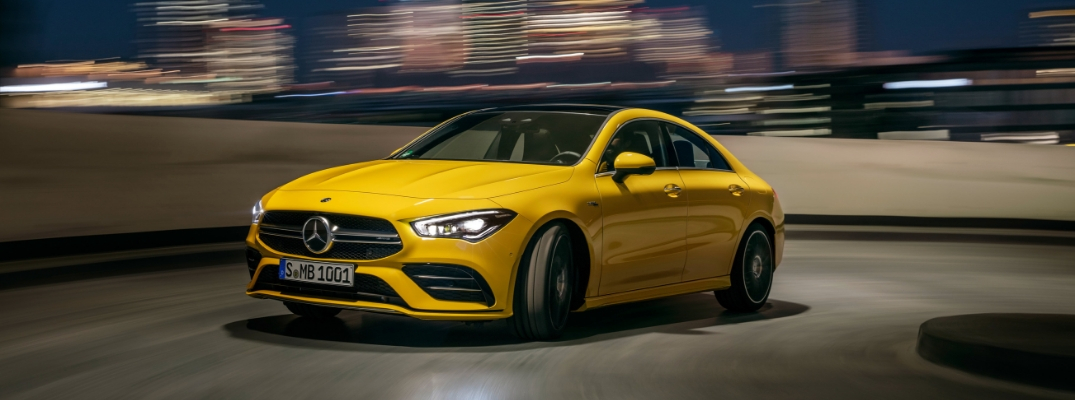 Yellow 2020 Mercedes-AMG® CLA 35 on road