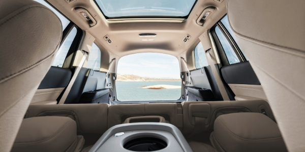 Interior view of folded down seats in 2020 Mercedes-Benz GLS