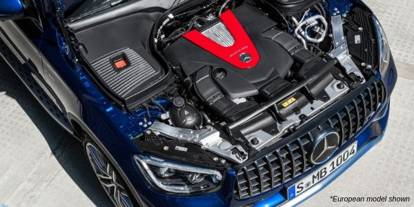 Overhead view of a European 2020 Mercedes-AMG® GLC 43 with hood open