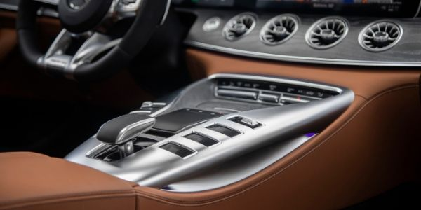 Closeup of center console in 2020 Mercedes-AMG® GT 53 4-Door Coupe