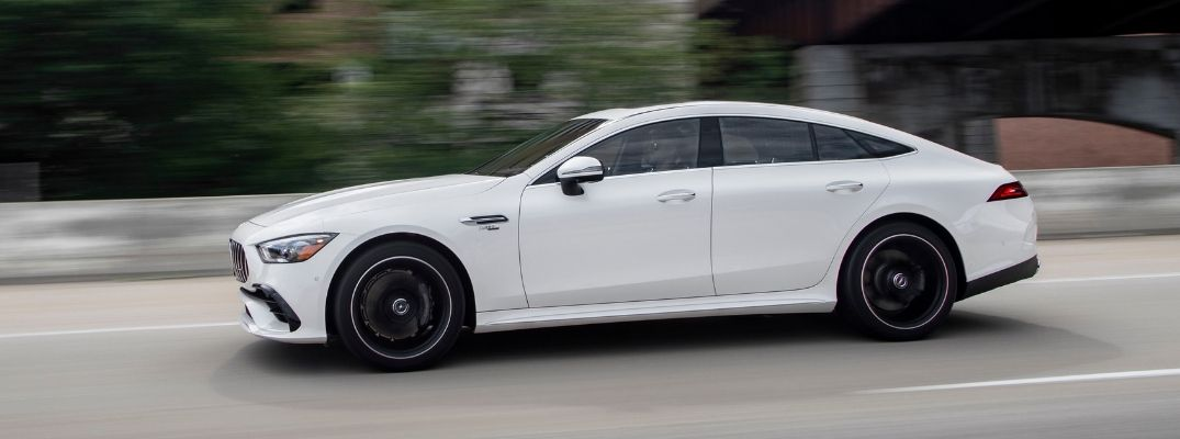 White 2020 Mercedes-AMG® GT 53 4-Door Coupe driving