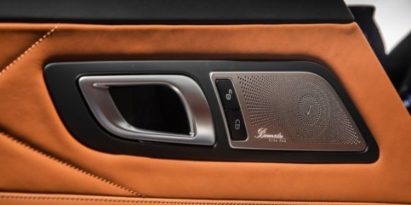 Closeup of door speaker in 2020 Mercedes-AMG® GT C Roadster
