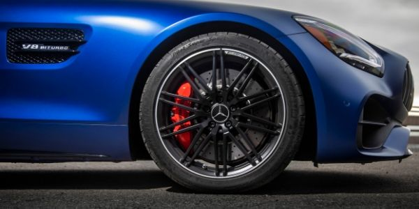 Closeup of wheel on 2020 Mercedes-AMG® GT C Roadster