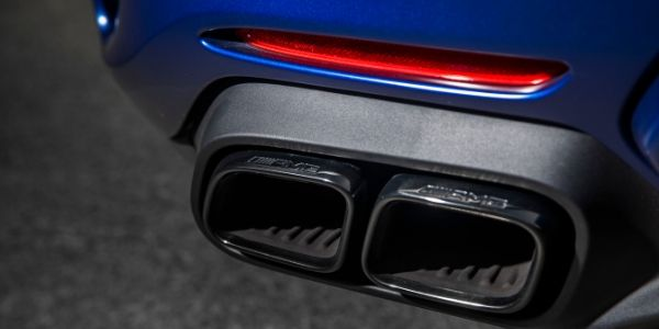 Closeup of exhaust on 2020 Mercedes-AMG® GT C Roadster