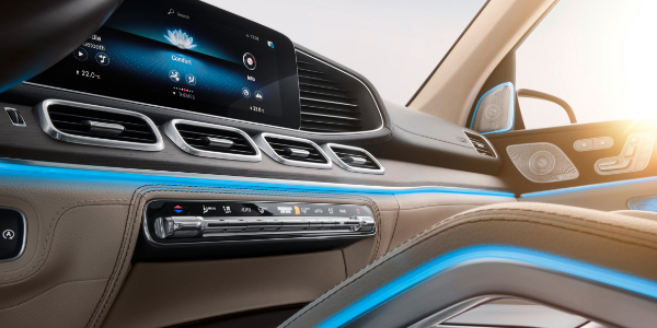 Interior view of dashboard technology in 2020 Mercedes-Benz GLS
