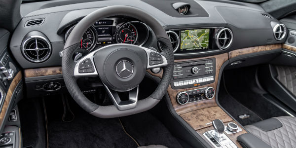 Closeup of steering wheel and dashboard in 2020 Mercedes-Benz SL Roadster Grand Edition