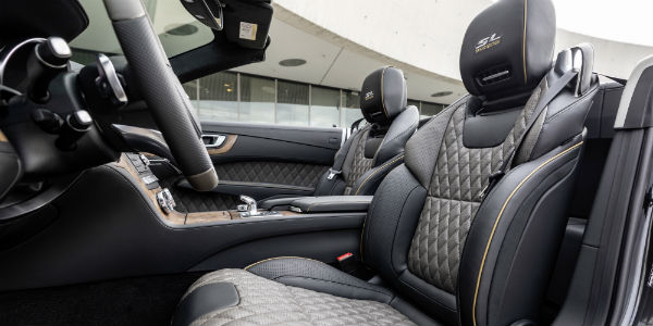 Closeup of seating in 2020 Mercedes-Benz SL Roadster Grand Edition