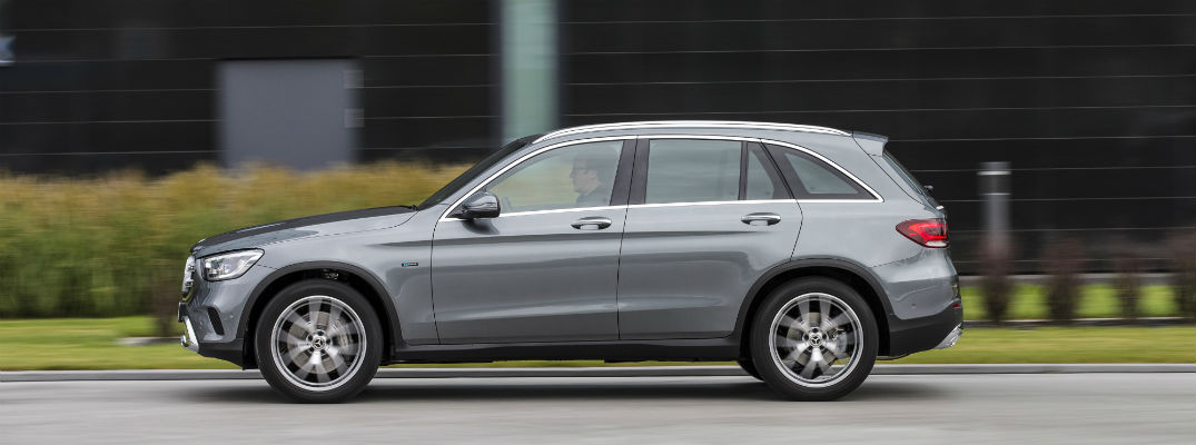 Side view of grey 2019 Mercedes-Benz GLC 350e 4MATIC® EQ