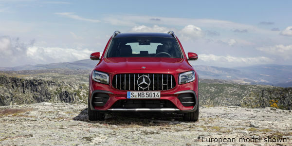 Front view of red European model 2021 Mercedes-AMG® GLB 35