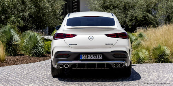 Rear view of white European model 2021 Mercedes-AMG® GLE 53 Coupe