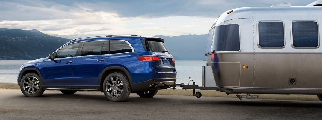 Blue 2020 Mercedes-Benz GLS Towing a Trailer