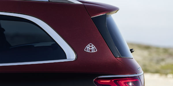 Closeup of emblem on the rear of 2021 Mercedes-Maybach