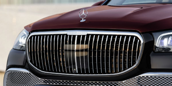 Closeup of grille on 2021 Mercedes-Maybach