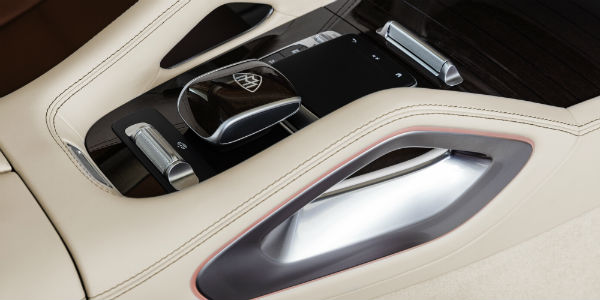 Closeup of center console in 2021 Mercedes-Maybach
