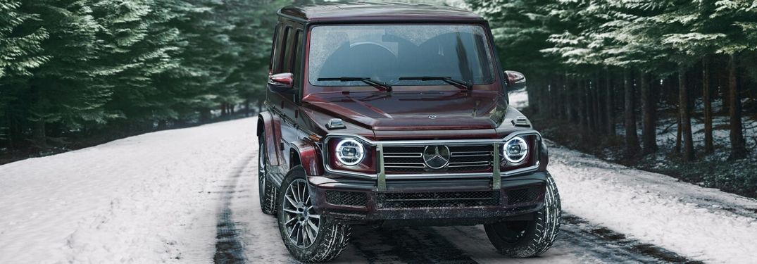 2020 Mercedes-Benz G-Class parked on showy road from exterior front