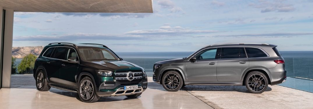 Two 2020 Mercedes-Benz GLS models parked in front of water
