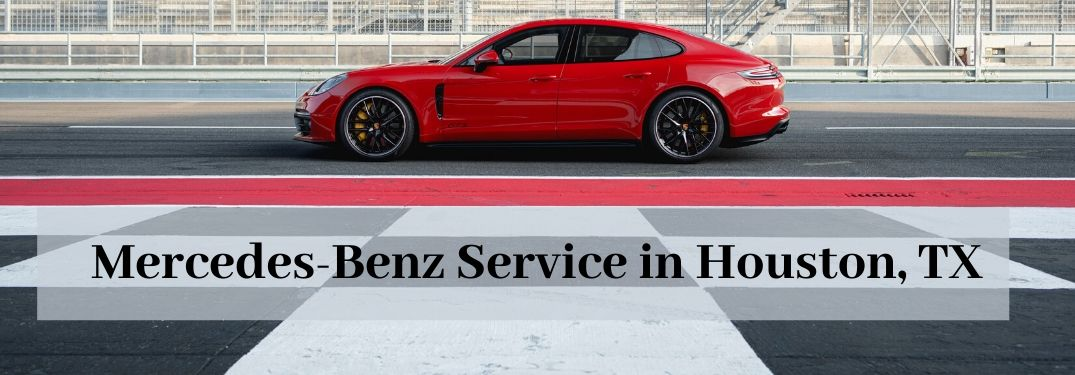 Mercedes-Benz Panamera on track with text that says Mercedes-Benz Service in Houston TX