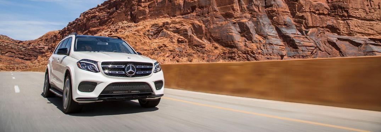 2017 Mercedes-Benz GLS driving by outcrop