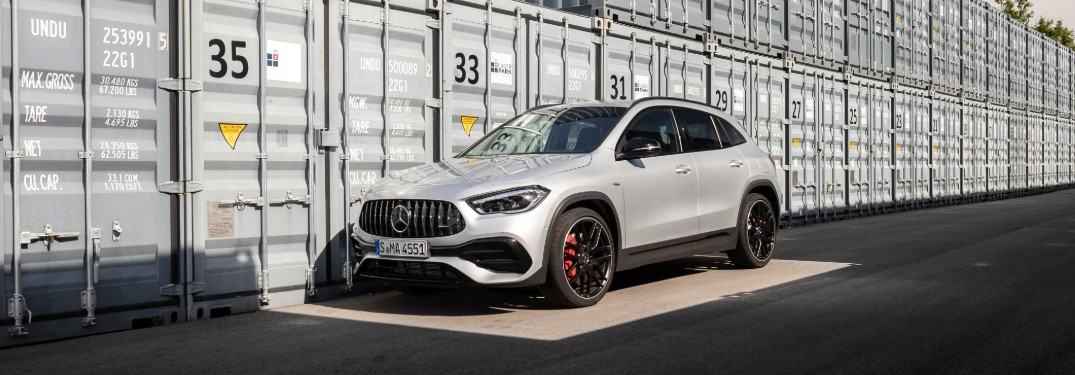 2021 Mercedes-Benz GLA in front of storage containers