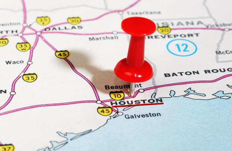 Pin dropped on map of Houston