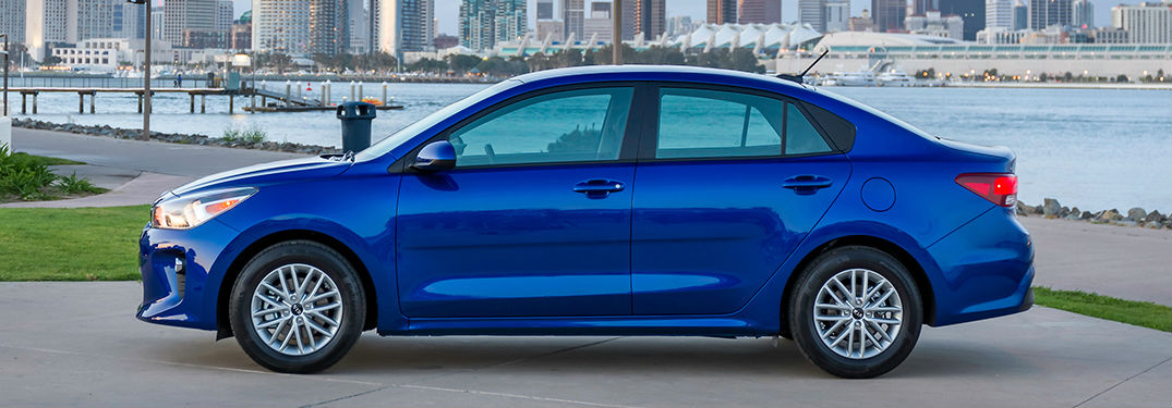 Side View of the Exterior of a 2018 Kia Rio in Blue