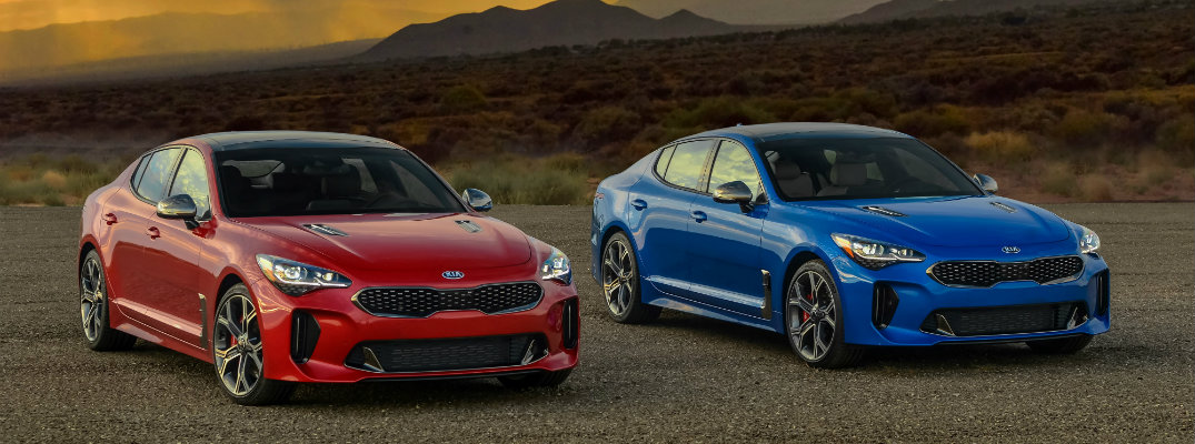 2018 Kia Stinger in Red and Blue Paint Colors