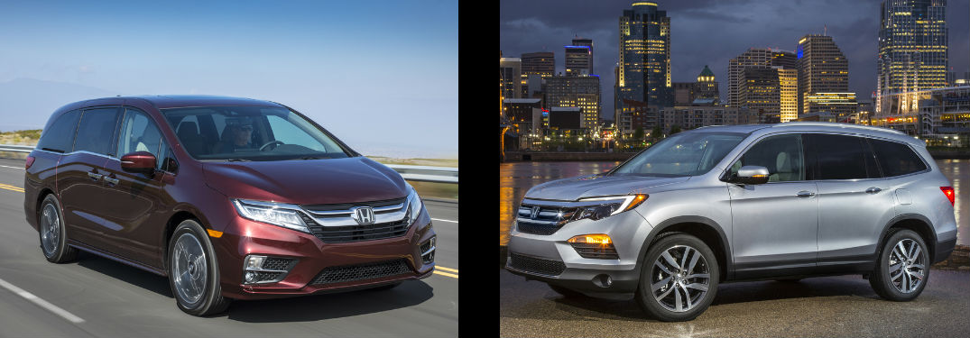 side by side images of a maroon 2018 Honda Odyssey and a silver 2018 Honda Pilot