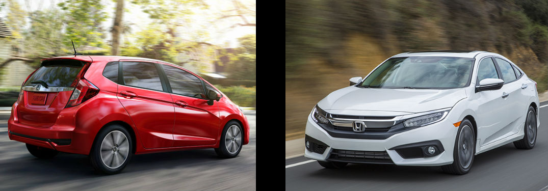 side by side images of a red 2018 Honda Fit and a white 2018 Honda Civic Sedan
