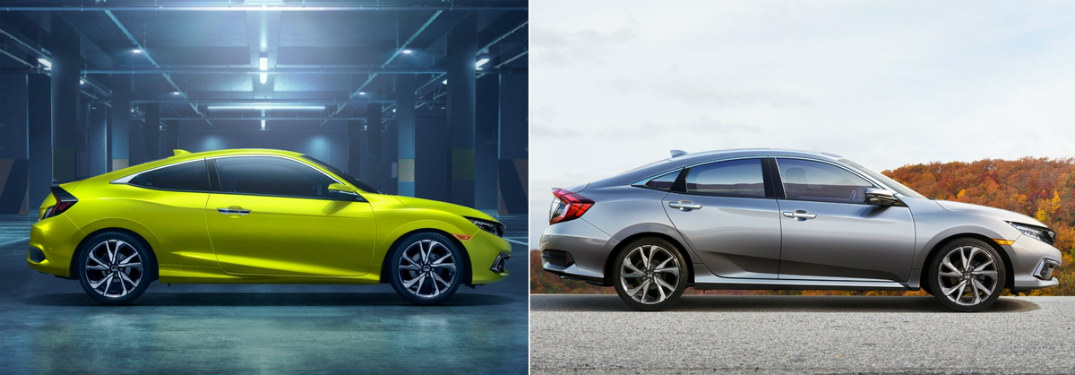 2019 Honda Civic Coupe and Sedan next to each other