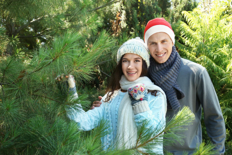 couple with Christmas trees