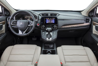2019 Honda CR-V interior front cabin steering wheel dashboard and partial front seats
