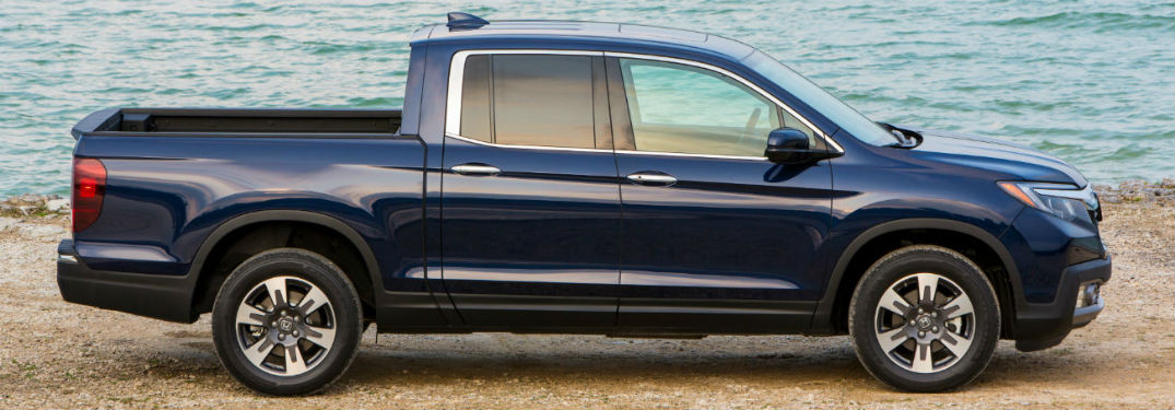 2019 Honda Ridgeline exterior passenger side profile on beach