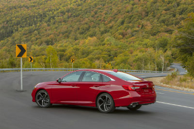 2019 Honda Accord exterior back fascia and drivers side on road with hill in background