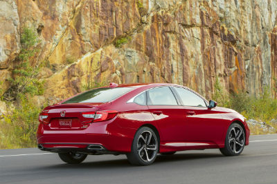 2019 Honda Accord exterior back fascia and passenger side in front of cliff side